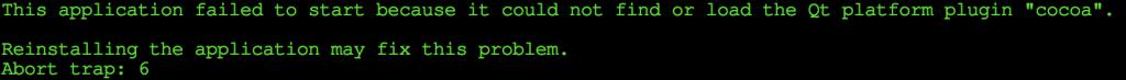 """Failed to load platform plugin """"cocoa"""""""