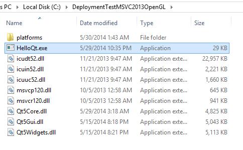 MSVC 2013 OpenGL barebones deployment