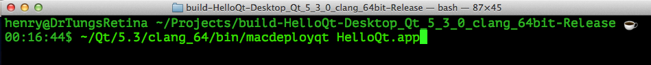 Using macdeployqt from Terminal